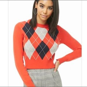 Forever 21 - Ribbed Argyle Sweater Sz. Small